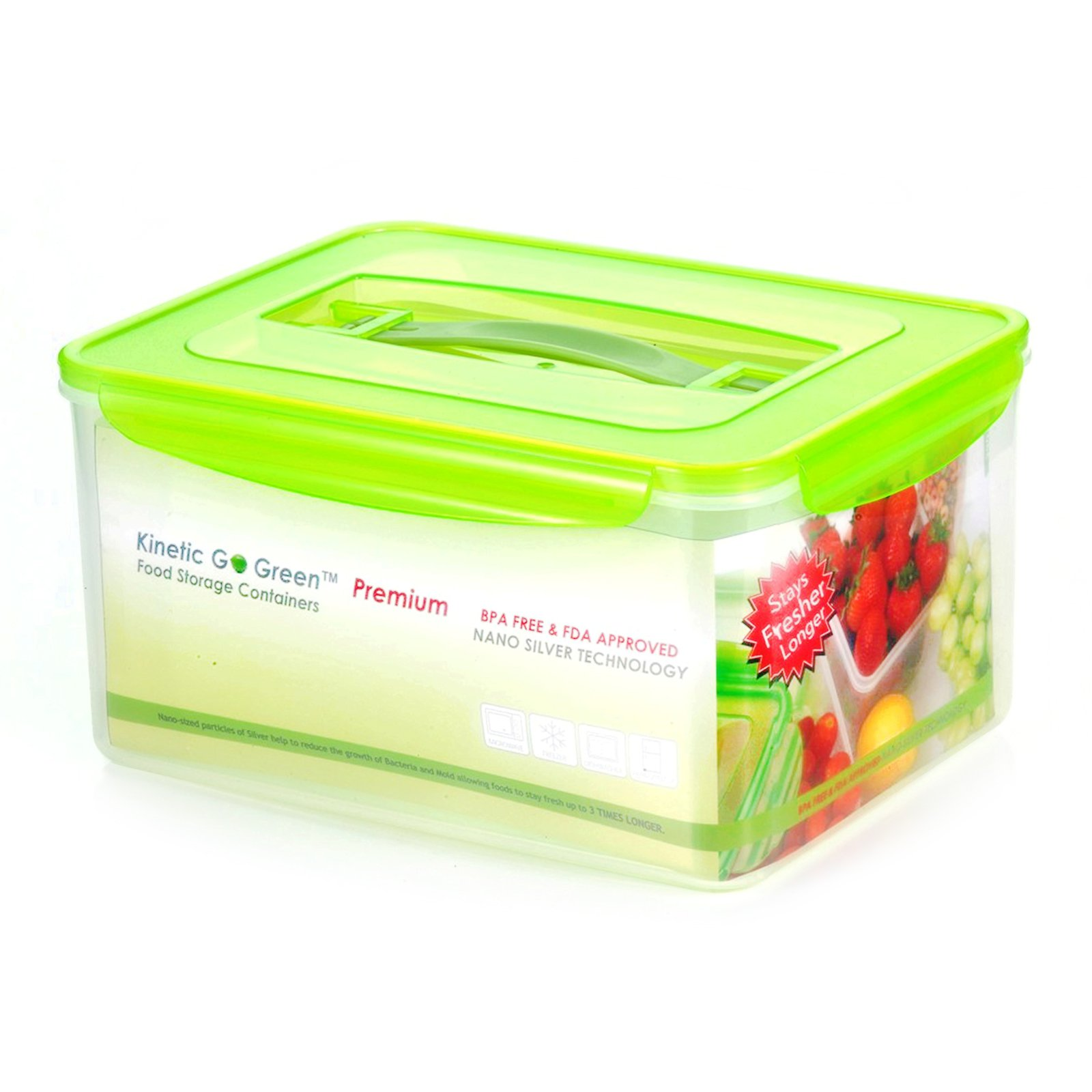 Kinetic Go Green Fresh 237 oz. Rectangular Food Storage Container with Handle and Moisture Rack