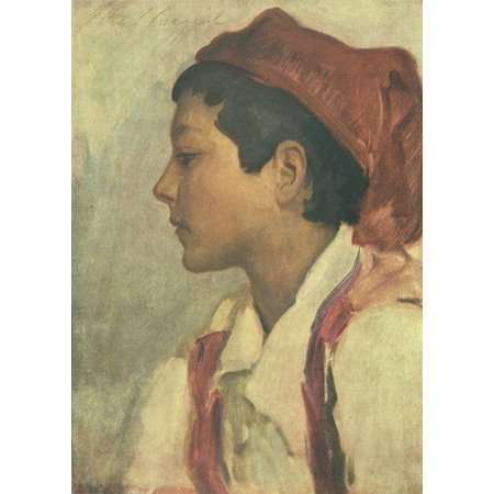 The Book of Italy 1916 Head of a Neopolitan boy Stretched Canvas - John S Sargent (18 x 24)