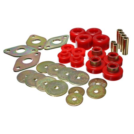 Access Cab Models - Energy Suspension Body Mount Set-Reg Access & Dbl Cab - Red