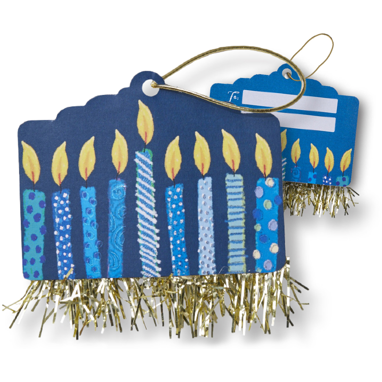 Jillson & Roberts Gift Tags with Tie String, Hanukkah Candles (100 Pcs)