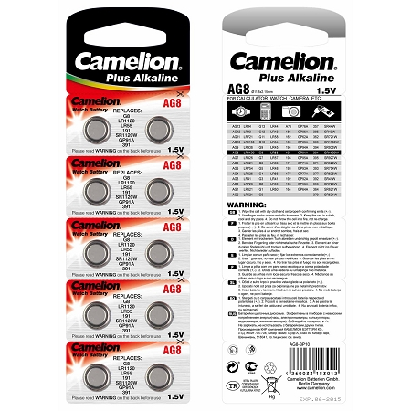 Camelion Long Lasting AG8 / G8 / LR1121 / LR55 / 191 / SR1120W / GP91A / 391 - Button Cell Battery 1.5 volt Alkaline (2 packs of 10)