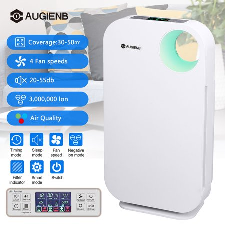 AUGIENB Large Air Purifier with True HEPA Filter, Allergies Eliminator Air Cleaner for Large Rooms, Home, Dust & Pollen, Smoke and Pet Dander Household