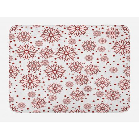 Geometric Bath Mat, Vivid Floral Arrangement Traditional Polka Dots Winter Holiday Inspired Palette, Non-Slip Plush Mat Bathroom Kitchen Laundry Room Decor, 29.5 X 17.5 Inches, Ruby White, Ambesonne
