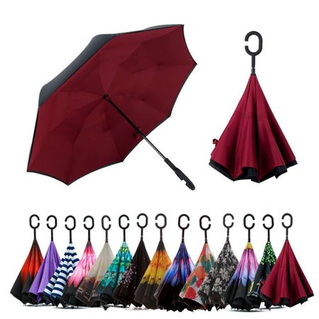 Double Layer Inverted Windproof Umbrella with UV Protection C-Shaped - Novelty Umbrella