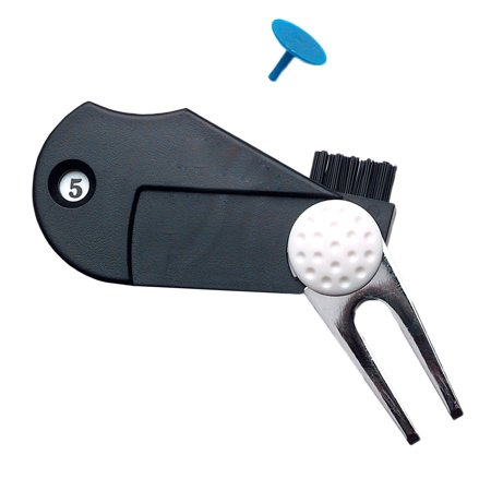 IClover [5 in 1] Golf Divot Tool Prongs Portable Green Divot Repair Tool Golf Tool  Multi-functional Tool Kit Divot Tool with Divot Tool, Groove Cleaner, Score Counter, Ball Marker, and Club Brush