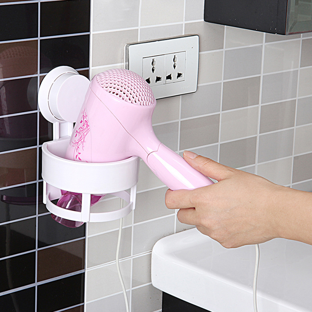 Heepo Bathroom Hair Dryer Holder Stand Bracket Wall-Mounted Suction Cup Organizer