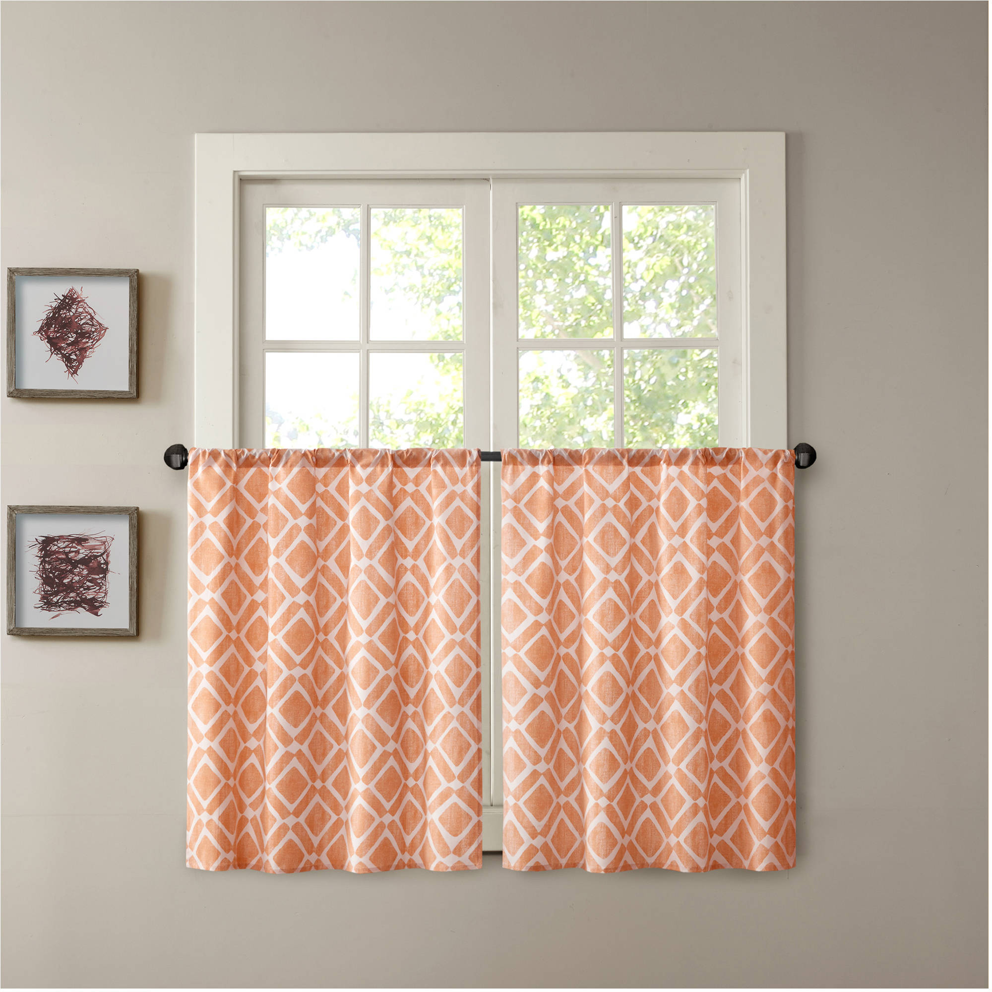 Superieur Home Essence Natalie Printed Diamond Kitchen Curtain   Walmart.com