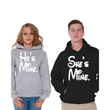 Awkward Styles He's Mine She's Mine Couple Hoodies He's Mine Sweatshirt She's Mine Sweatshirt Matching Boyfriend & Girlfriend Sweaters Anniversary Gifts Husband & Wife Valentine's Day Couple Outfit
