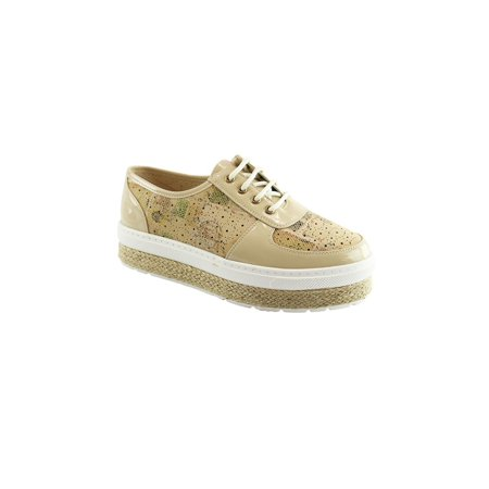 Liyu Adult Beige Patent Panel Double Platform Lace-Up Oxford Shoes - Adults Shop