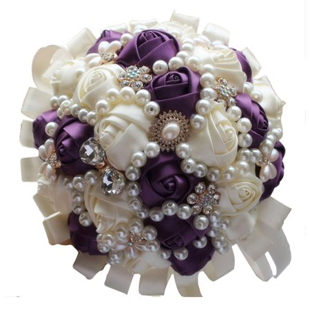 KABOER 1x Wedding Bridal Rose Ribbon Flower Crystal Silk Pearl Brooch Bouquet Vintage Wedding Crystal Pearl