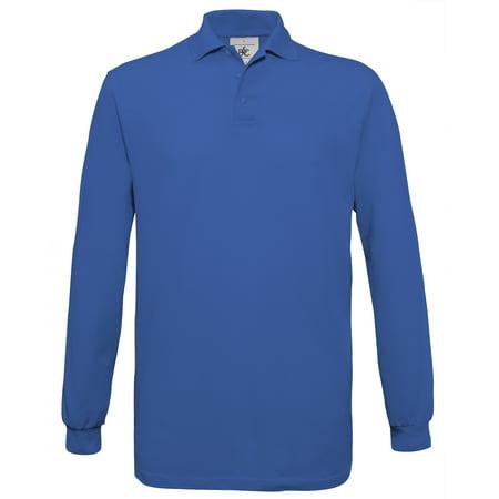 5a681831 B&C Mens Safran Long Sleeve Cotton Polo Shirt