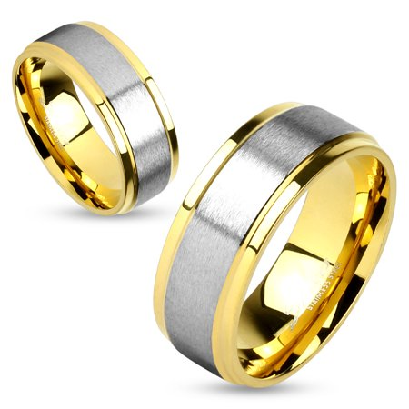 8mm Two Tone Soft Brushed Metal Center Step Edge Gold IP Stainless Steel Men's Ring (SIZE: -