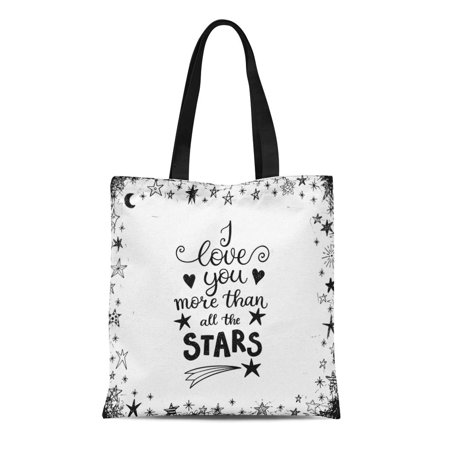 HATIART Canvas Tote Bag I Love You More Than All the Stars Modern Durable Reusable Shopping Shoulder Grocery Bag - image 1 of 1