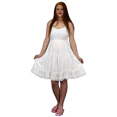 - Peach Couture Womens Spaghetti Strap Tiered A Line Dress With Fringed Hem White Large