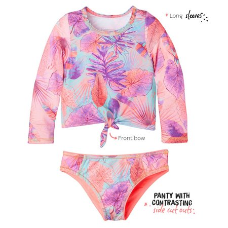 46f395f723e OFFCORSS - OFFCORSS Big Girls Two Piece Long Sleeve Tankini Bathing Suits |  Vestido de Baño - Walmart.com