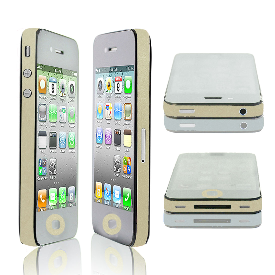 Unique Bargains Glitter Pale Yellow Vinyl Edge Wrap Decal Skin Sticker for iPhone 4 4G 4S 4GS