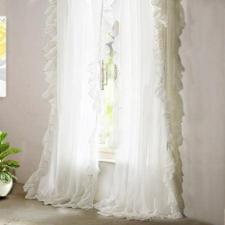 DrfitAway 2 panels-Sophie Sheer Voile Window Curtains, Ruffle edge, Rod Pocket, each 52