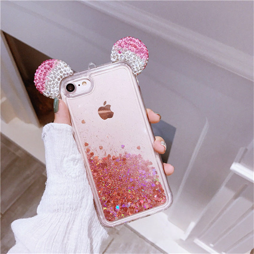 "iPhone 6 Plus 5.5"" iPhone 6s Plus 5.5"" 3D Holographic Rose Gold Mickey Ears Glitter Waterfall Liquid Case"