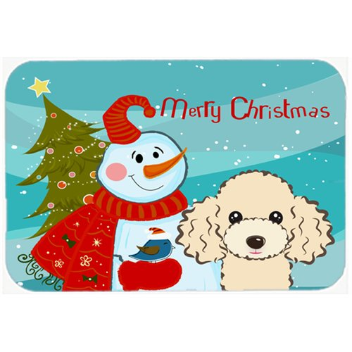 Caroline's Treasures Snowman Buddies with Poodle Glass Cutting Board