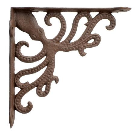 Nautical Shelf Bracket - Octopus - Rust Brown Cast Iron - 7.75