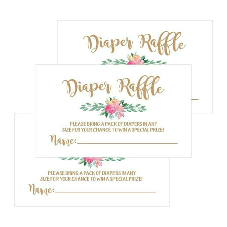 25 Flower Diaper Raffle Ticket Lottery Insert Cards For Gold Girl Floral Baby Shower Invitations, Supplies Games For Baby Gender Reveal Party, Bring a Pack of Diapers to Win Favors, - Raffle Tickets For Baby Shower