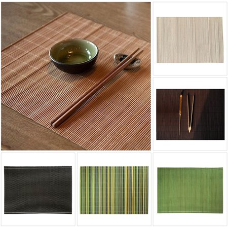 CUH Bamboo Table Placemats Kitchen Dinning Serving Place-mats Roll up Wood Mat Sushi Oriental