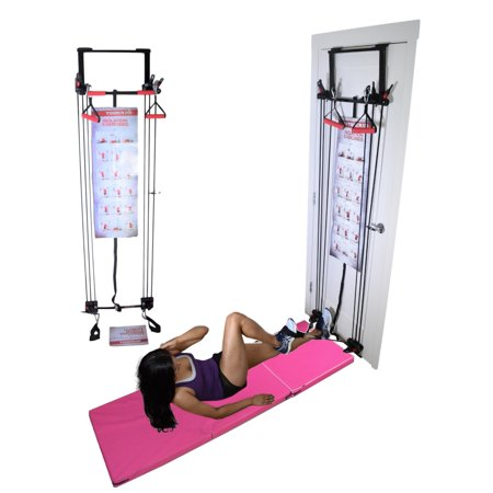 Tower 200 Door Gym Full Body Exercise Fitness Total Home Gym with 6'x2' Exercise Mat Workout System Strength Training with Straight Resistance Bar, DVD, Exercise Chart