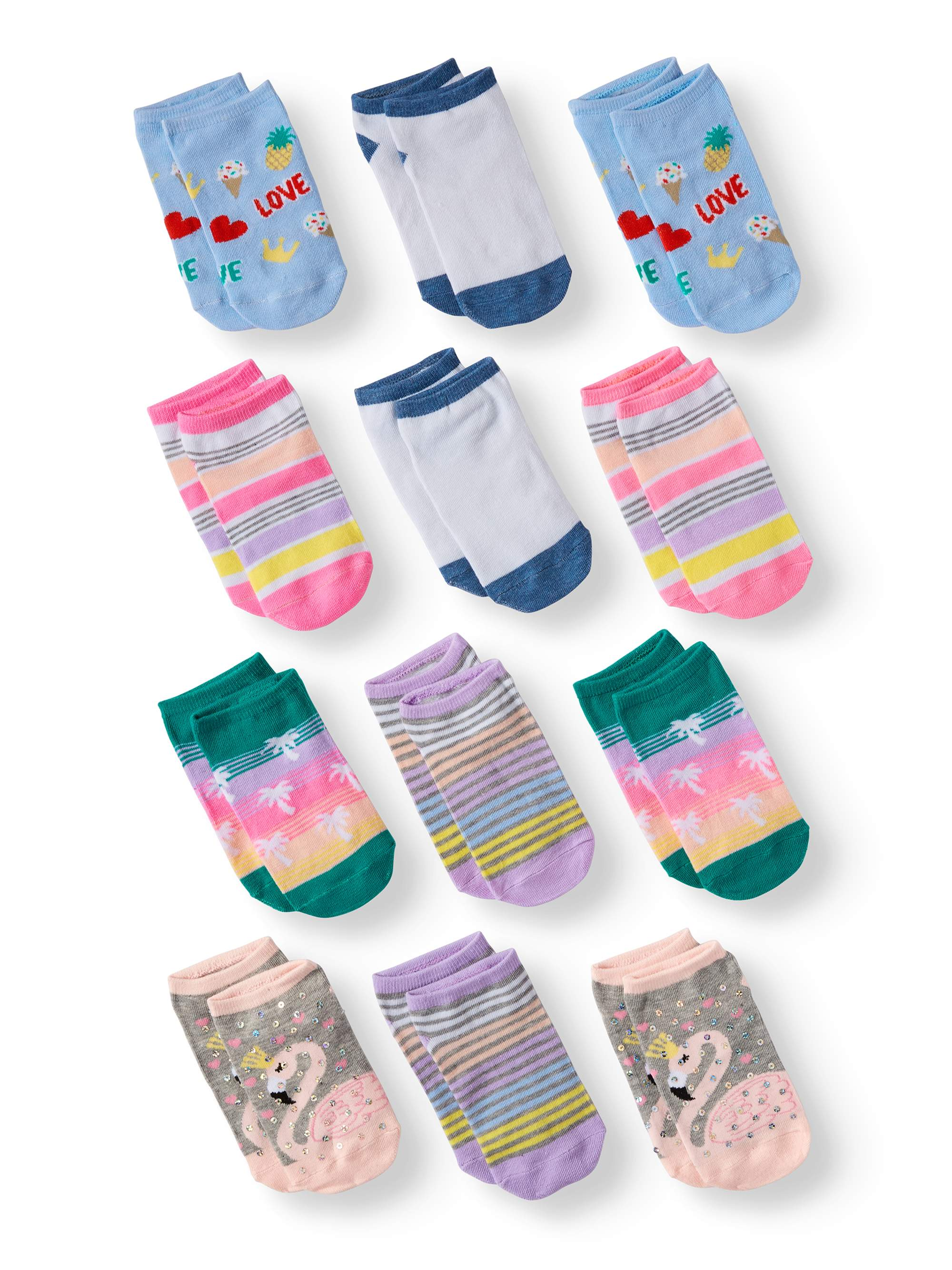 Wonder Nation Girls' Sequined Unicorn No Show Socks, 12 Pairs