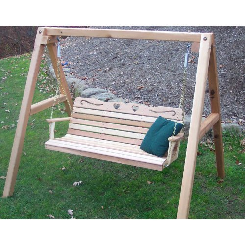 Creekvine Designs Country Hearts Cedar Porch Swing with Stand