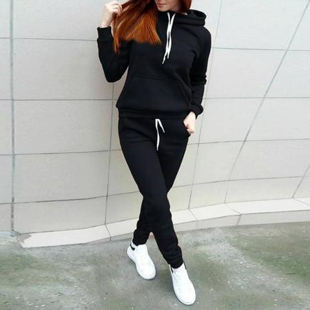 ZEDWELL Women Tracksuit Hoodies Sweatshirt + Pants Sets Casual Sport Wear Suit