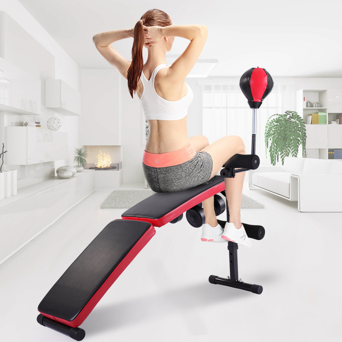 Lazymoon Adjustable Folding Decline Sit up Bench Ab Incline Abdominal Exercise Bench w/ Speed Ball Dumbbel Home Fitness Workout