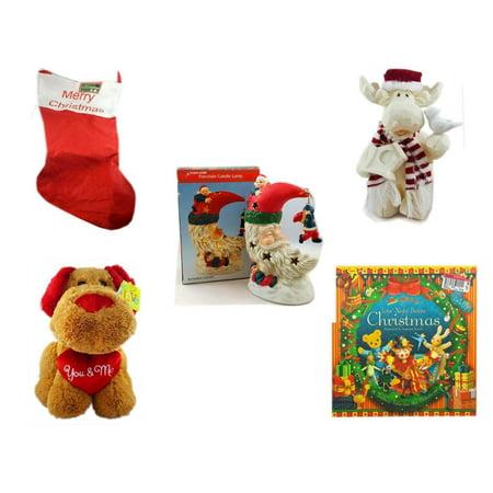 "Christmas Fun Gift Bundle [5 Piece] - Jumbo ""Merry "" Red Felt Stocking 15"" x 32"" - Woodniks ""Finish It"" Moose w/ Birdhouse Resin Figure 8"" - A Treasury of Gifts Santa Moon Porcelain Candle Lamp - Lo"