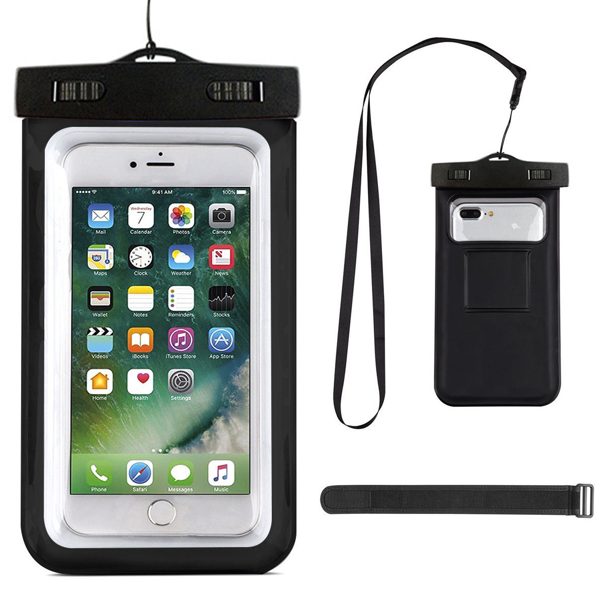 "Universal Waterproof Case, Mignova Cellphone Dry Bag Pouch with Lanyard Armband Strap for Apple iPhone X, 8, 7, 6 6s Plus Samsung Note 8 S8, S8 Plus S7, S7 Edge up to 6.0"" diagonal (Black)"
