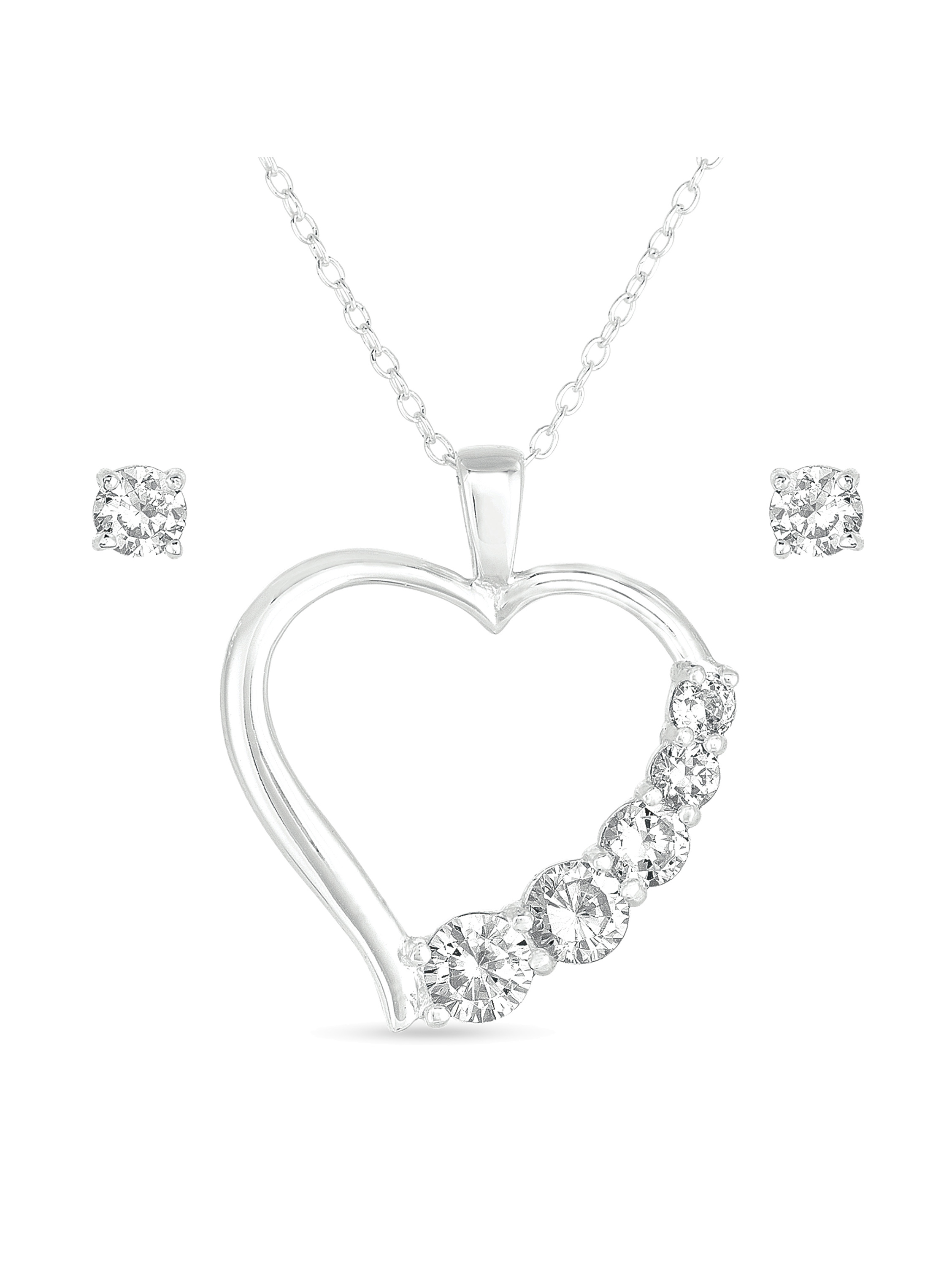 """CZ Sterling Silver Stud Earrings and Heart Pendant, 18"""""""