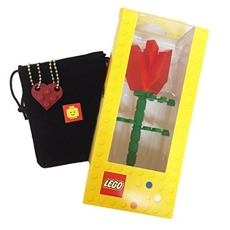 Lagos Rope Necklace (Lego Valentines Day Heart Necklace and Red Rose Bundle (2) Dark Red Modified 3 x 2 Plates (1) Black Velvet Drawstring Pouch (2) 24