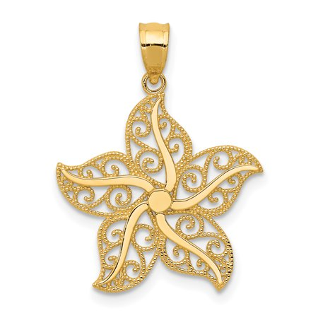 14k Yellow Gold Filigree Starfish Pendant Charm Necklace Sea Life Gifts For Women For Her