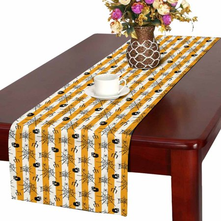 MKHERT Halloween Skull Table Runner, Stripe Table Cloth Runner for Wedding Party Banquet Decoration 14x72 inch