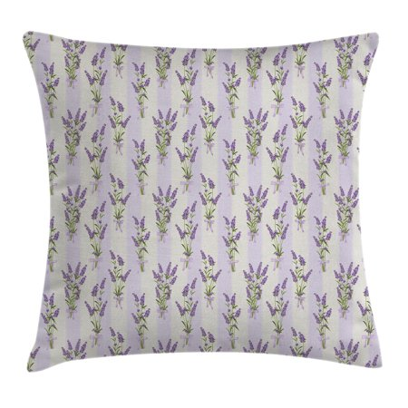 Lavender Throw Pillow Cushion Cover, Stripes and Flowers with Ribbons Romantic Country Home Decoration Spring Season Design, Decorative Square Accent Pillow Case, 16 X 16 Inches, Purple, by Ambesonne (Country Home Accents)