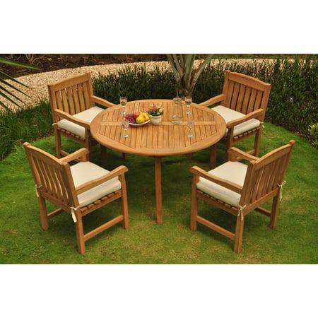52 Round Table.Teak Dining Set 4 Seater 5 Pc 52 Round Table And 4 Devon Captain Arm Chairs Outdoor Patio Grade A Teak Wood Wholesaleteak Wmdsdvg