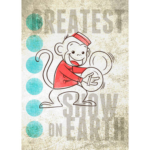 Oopsy Daisy - Big Top Monkey Canvas Wall Art 10x14, Fancy That Design House & Co
