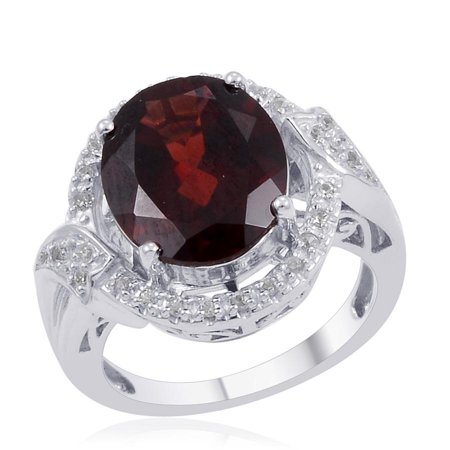 925 Sterling Silver Platinum Plated Oval Garnet Zircon Halo Fashion Ring For Women Cttw 4