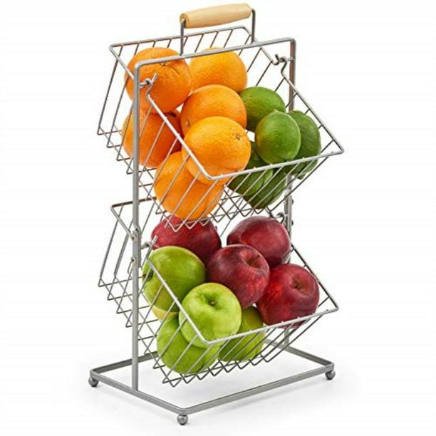 Ezoware 2 Tier Fruit Basket Stand Kitchen Market Produce Mini Countertop Holder Bins Storage Organizer For Fruits Veggies Snacks Household Bathroom Items Walmart Com Walmart Com