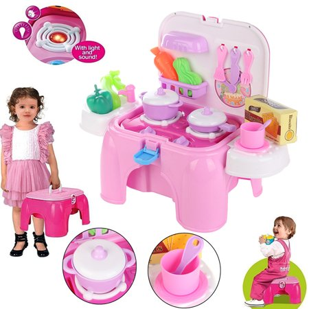 Kids Kitchen Cooking Set Toy With Play Food Kitchen Utensils Lights