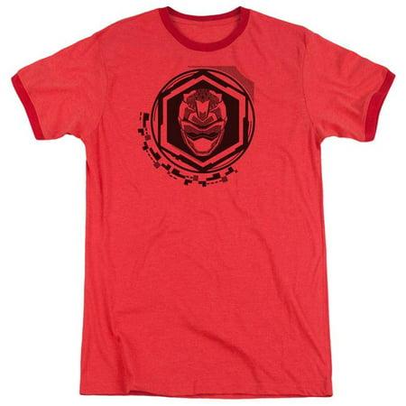 Trevco Sportswear PWR2410-AR-6 Power Rangers & Red Ranger Print Adult Ringer Short Sleeve T-Shirt, Red - 3X - image 1 of 1