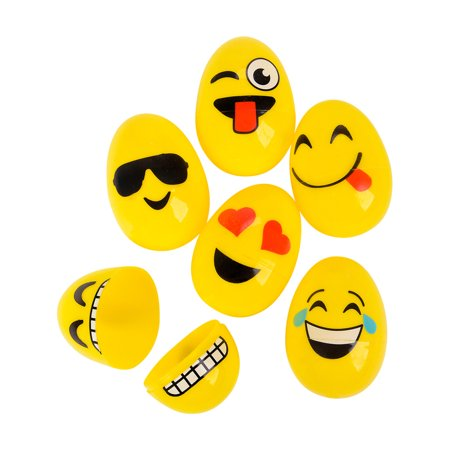 Set of 12 Assorted Yellow Emoticon Emoji Face Easter Eggs Decorations