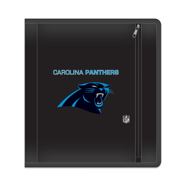 """NFL Carolina Panthers Zippered 3 Ring Binder, 250 Sheet Capacity, 1.625"""" Metal Rings"""