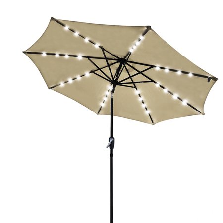 9' Solar LED Patio Umbrella w/ Crank Tilt 8 Ribs Garden Outdoor Beige