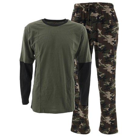Cotton Camouflage Pajamas - Hanes Men's Green Camo Cotton Pajamas