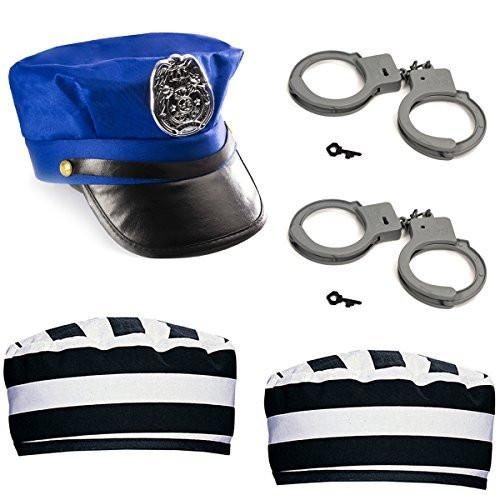 Cops and Robbers Party Supplies - Police and Robber Costume - Prisoner Hat - 5 PC Jail Costume by Funny Party Hats