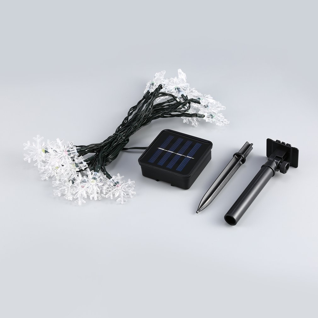 20 LED Waterproof Snowflake Fairy Light String with Solar Panel Powered For Outdoor Garden Wedding Decoration by